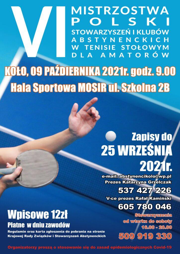 VI Mistrzostwa Polski wTenisie stołowym Stowarzyszeń iKlubów Abstynenckich dla Amatorów